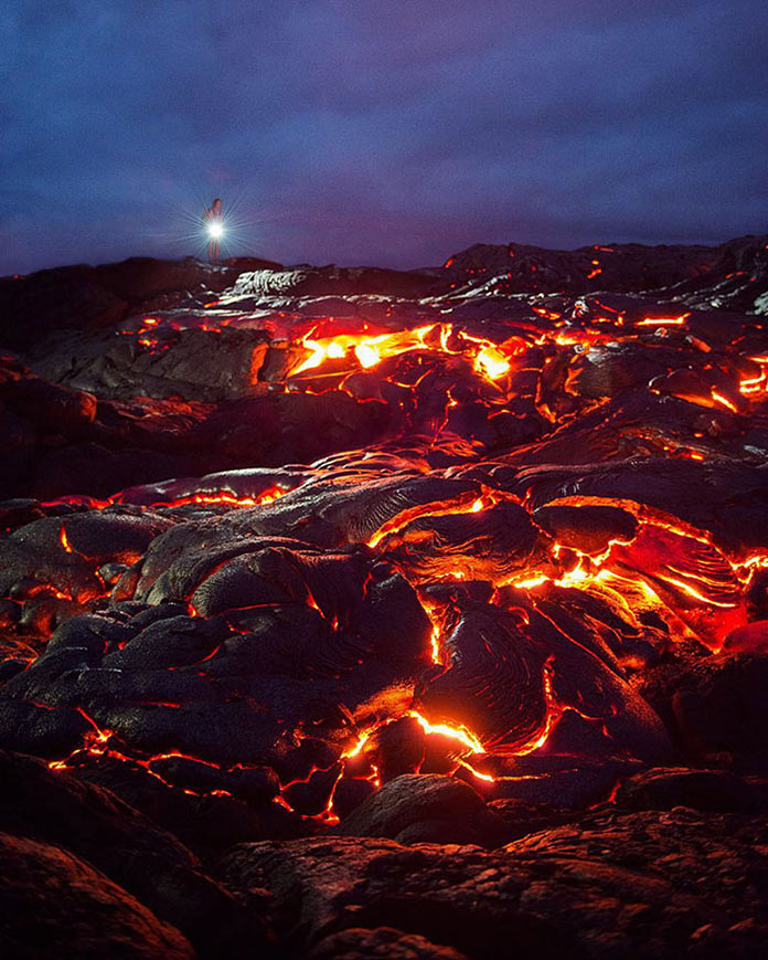 Горячая лава гавайских вулканов
