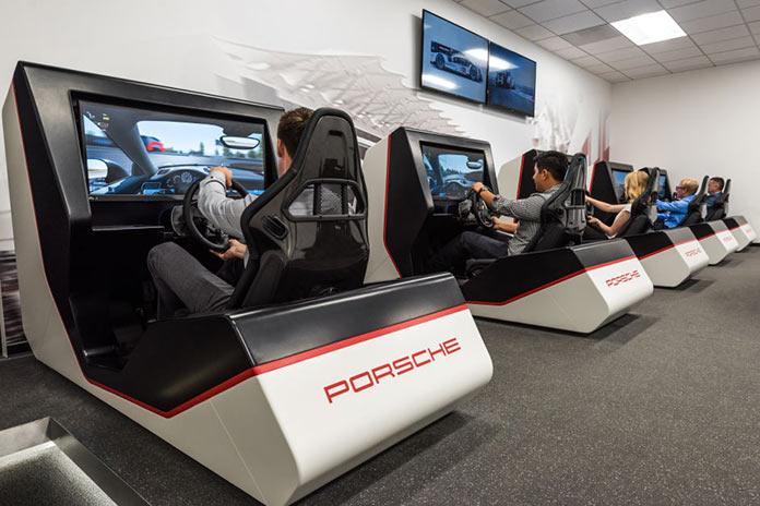 Driving simulators in Porsche Experience Center in California