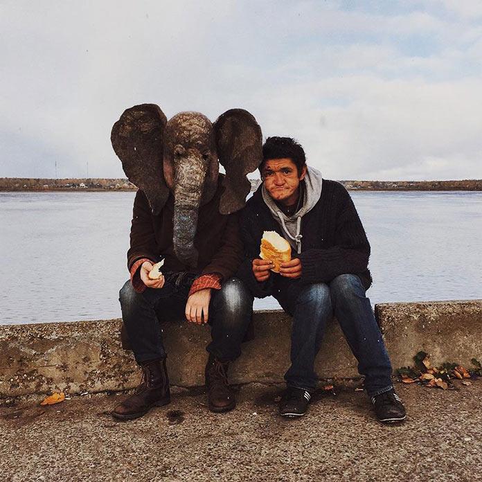 Грустный слон (trunkdrunk) с пермским бомжом
