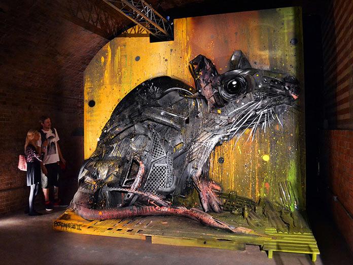 Крыса, скульптура из мусора, стрит-арт Bordalo-II