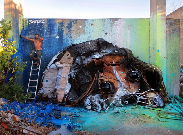 Щенок, скульптура из мусора, стрит-арт Bordalo-II