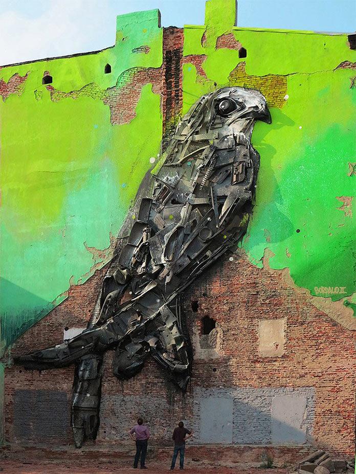 Птица, скульптура из мусора, стрит-арт Bordalo-II