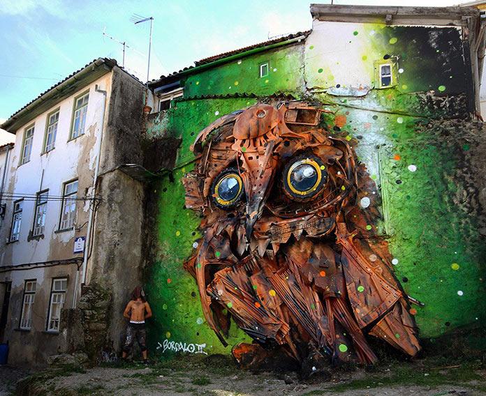 Скульптура совы из мусора, стрит-арт Bordalo-II