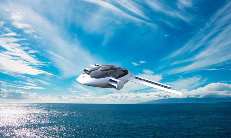 Lilium Electric Jet в полете над морем