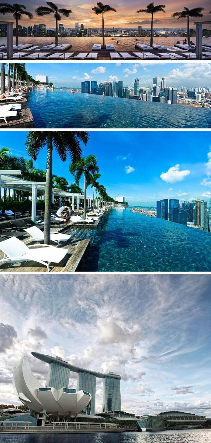 Бассейн на крыше отеля Marina Bay Sands в Сингапуре