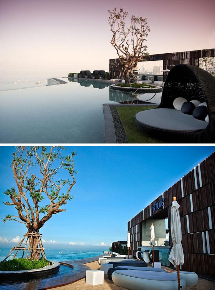 Виды и бассейн на крыше отеля Hilton в Паттае, Таиланд