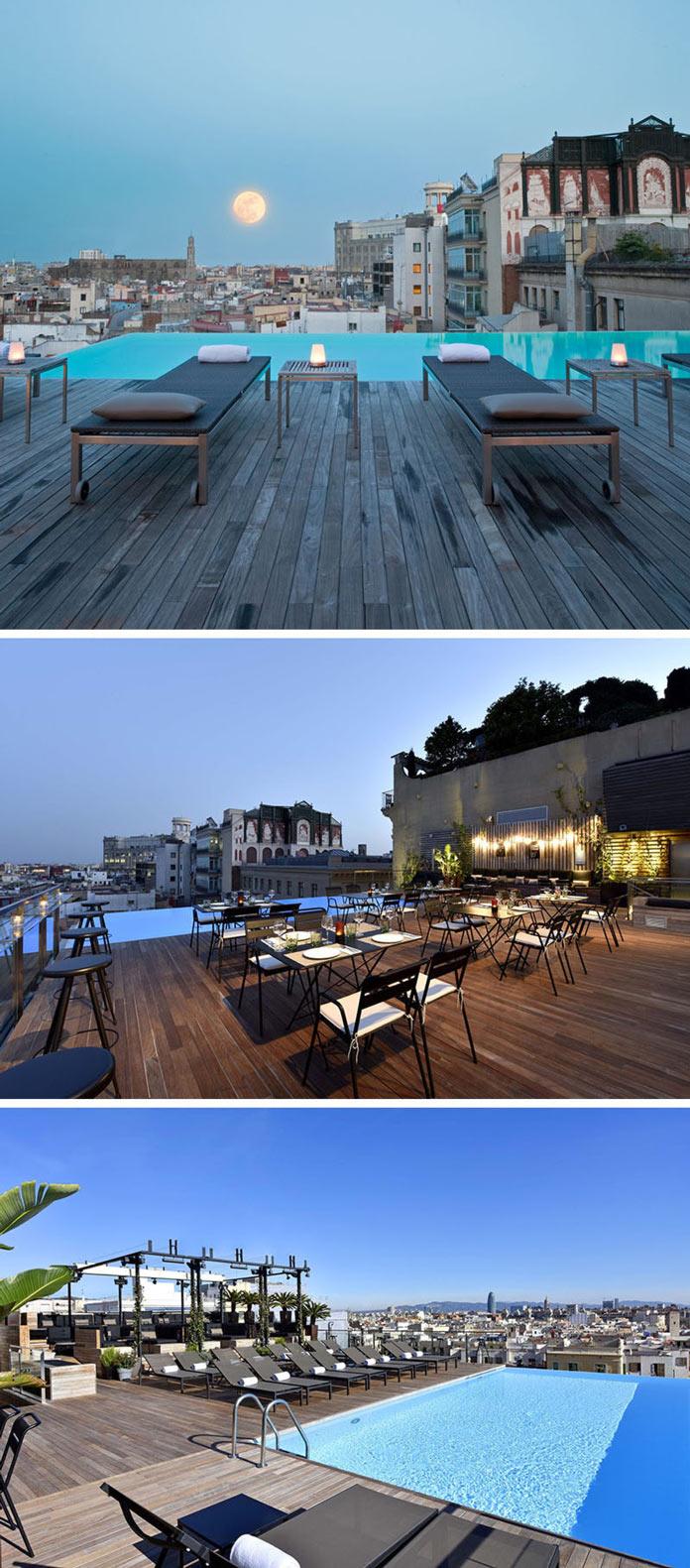Бассейн, бар и шикарный вид с крыши отеля Grand Hotel Central в Барселоне, Испания
