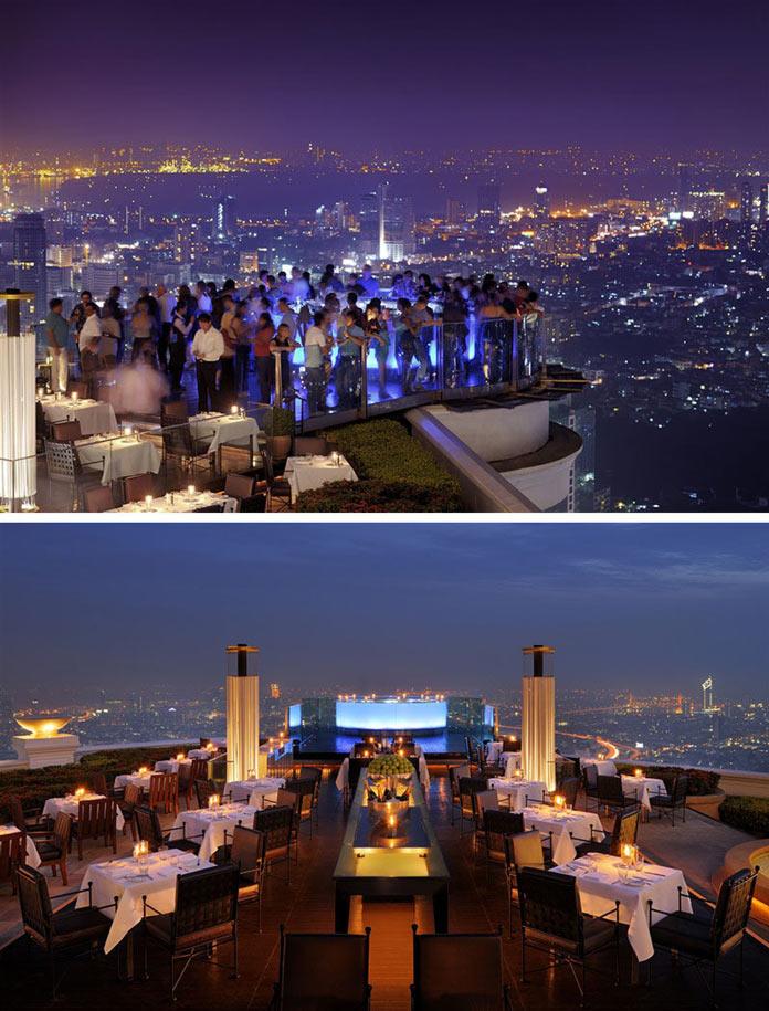 Ресторан с красивыми видами на крыше отеля Lebua at State Tower в Бангкоке, Таиланд