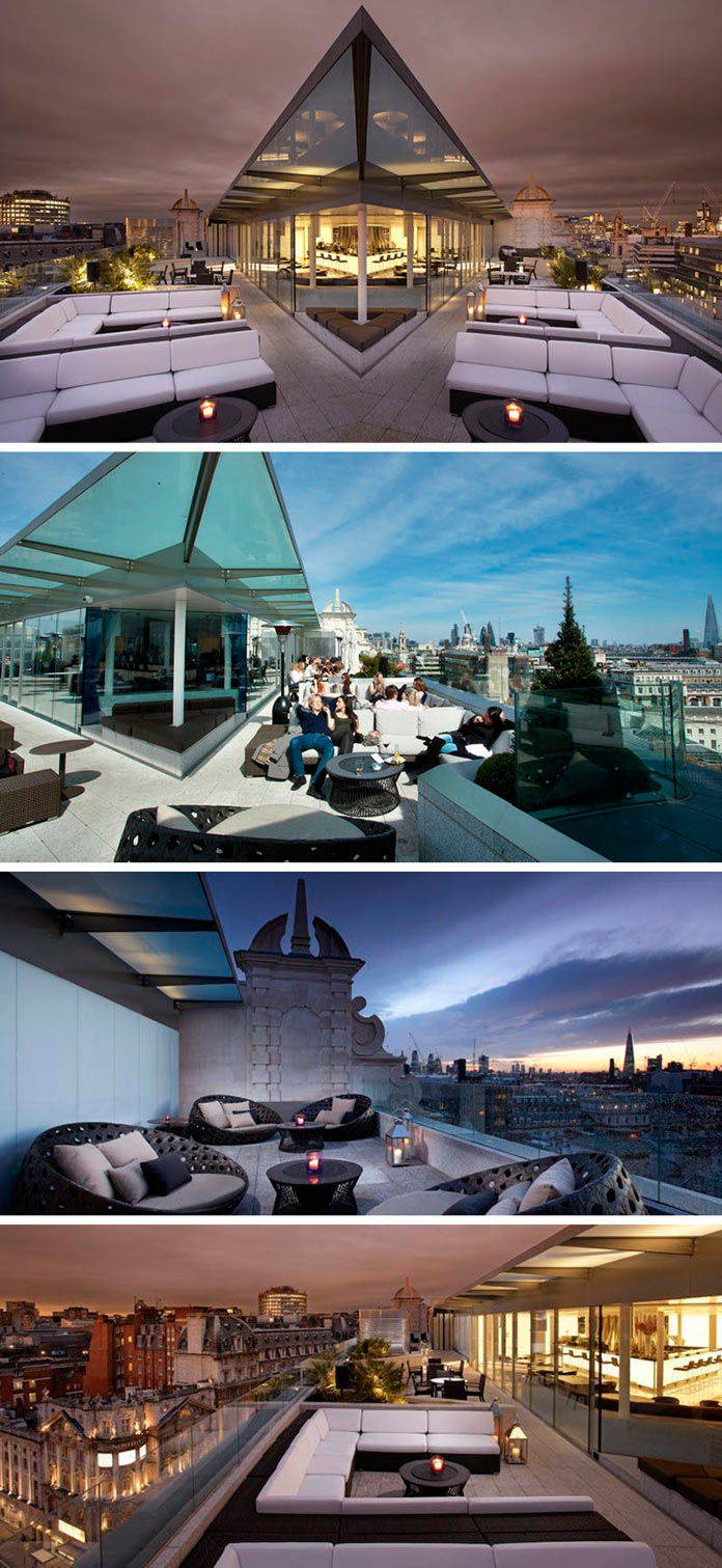 Лаунж зона на крыше отеля ME London Hotel, Великобритания