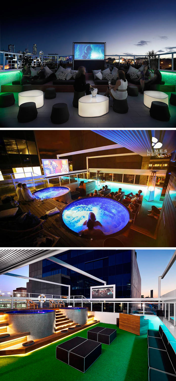 Кинотеатр и бассейн на крыше отеля Limes в Брисбене, Австралия
