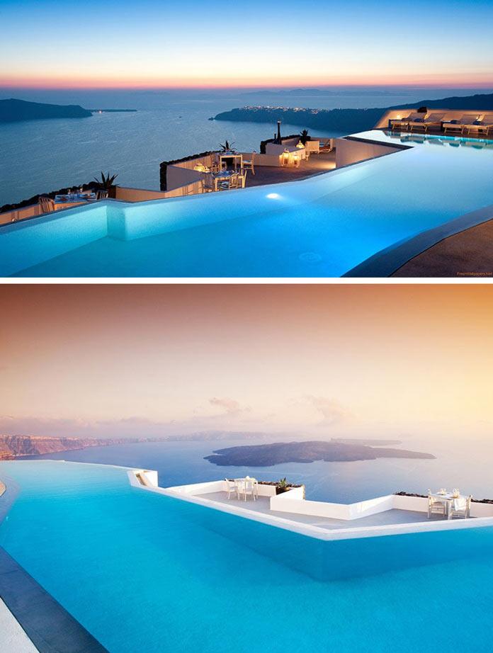 Бассейн и красивый вид на Средиземное море с крыши отеля Grace на острове Санторини, Греция