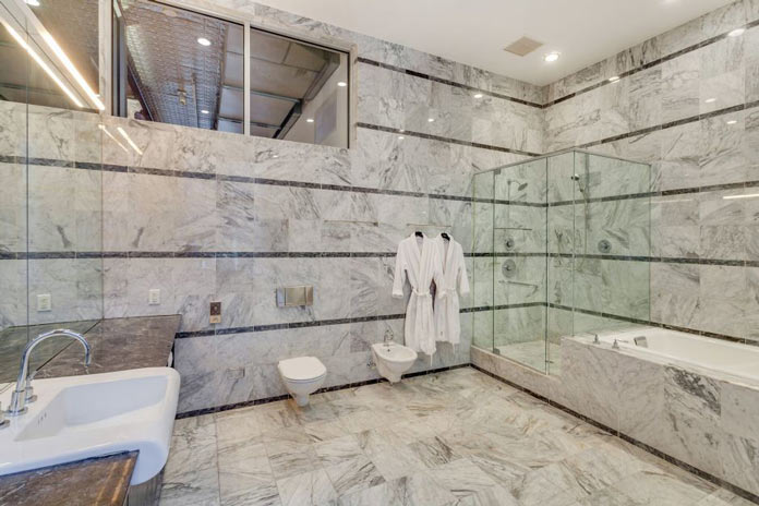 Bathroom of Adam Levine's Rockstar Bachelor Loft in New York