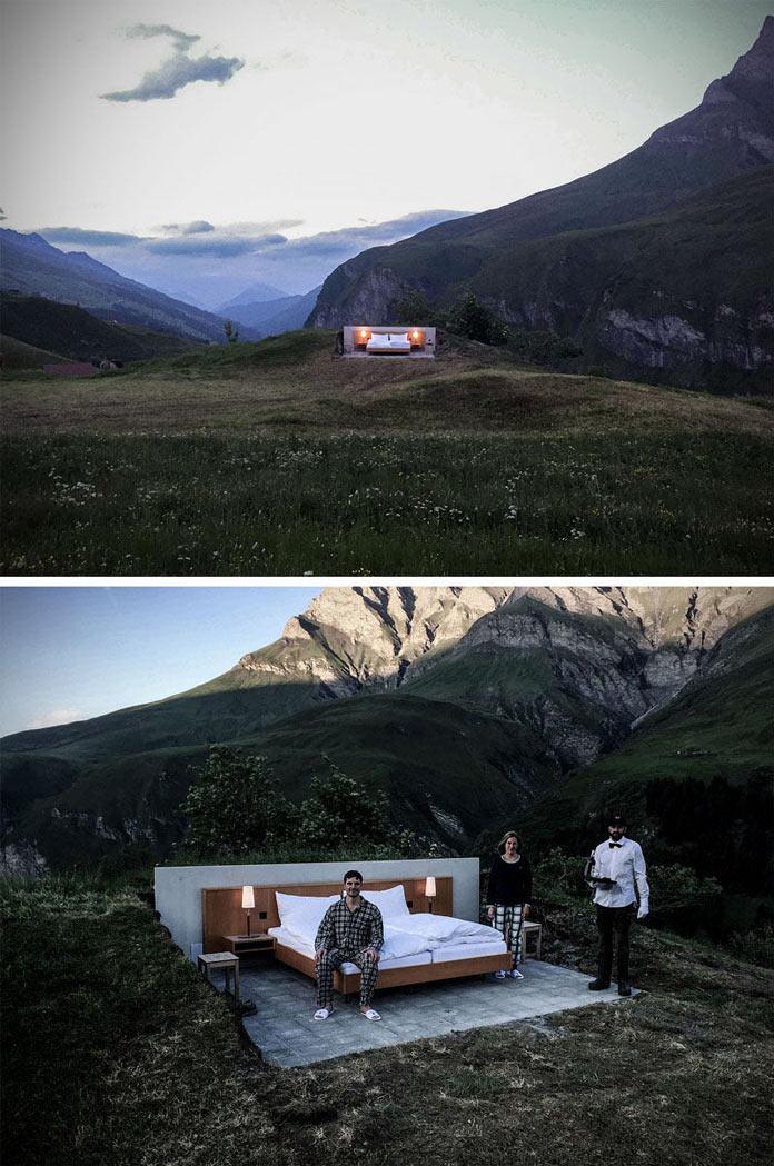 Гостиничный номер на открытом воздухе в швейцарских Альпах