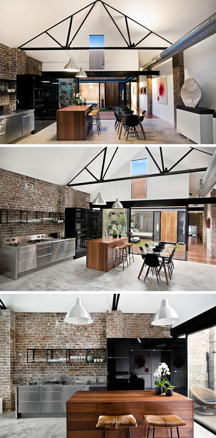 Открытая планировка. Интерьер в стиле лофт. Просторная кухня