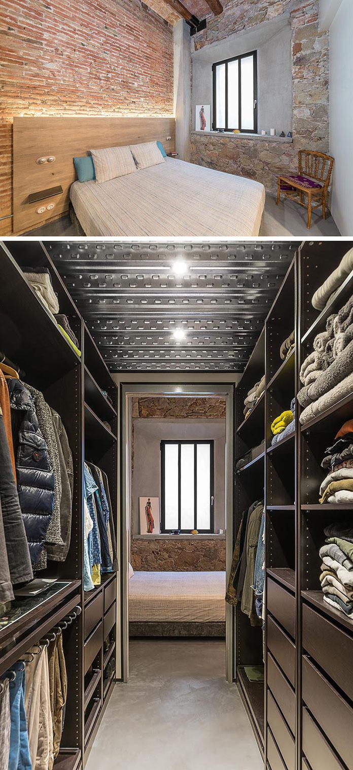 Спальня и гардероб. Переделка квартиры из столярной мастерской