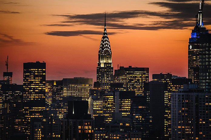 Нью-Йорк на закате, фото Джорджа МакКинзи младшего