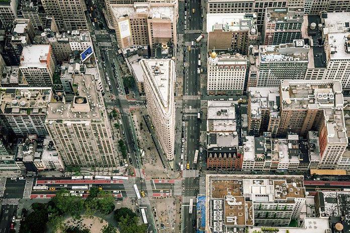 Flatiron Building, Нью-Йорк с высоты, фото Джорджа МакКинзи младшего