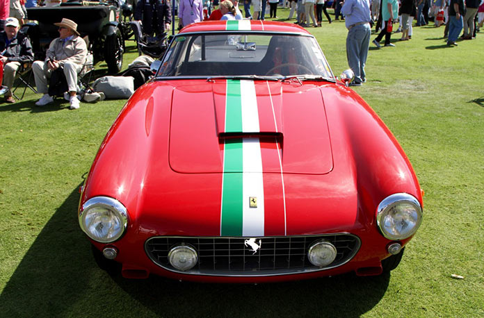 1960 Ferrari 250GT SWB competition car with racing stripes