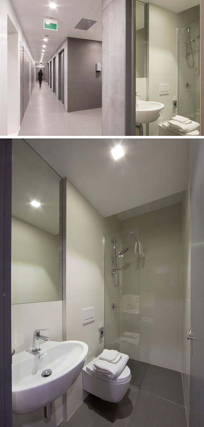 Туалет и душевая комната. Капсульный отель Bed&Boarding в аэропорту Неаполя
