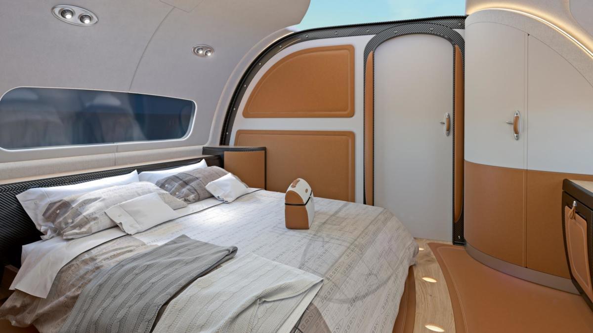 Салон бизнес джета ACJ319 neo с потолочным экраном отображающим небо над самолетом