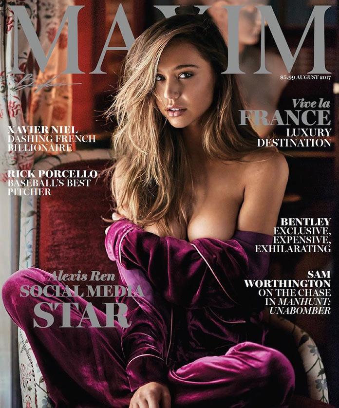 Алексис Рен на обложке августовского номера журнала Максим