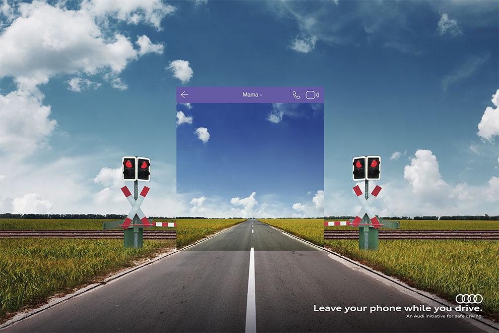 Рекламная кампания Audi демонстрирует как использование телефона искажает восприятие дороги