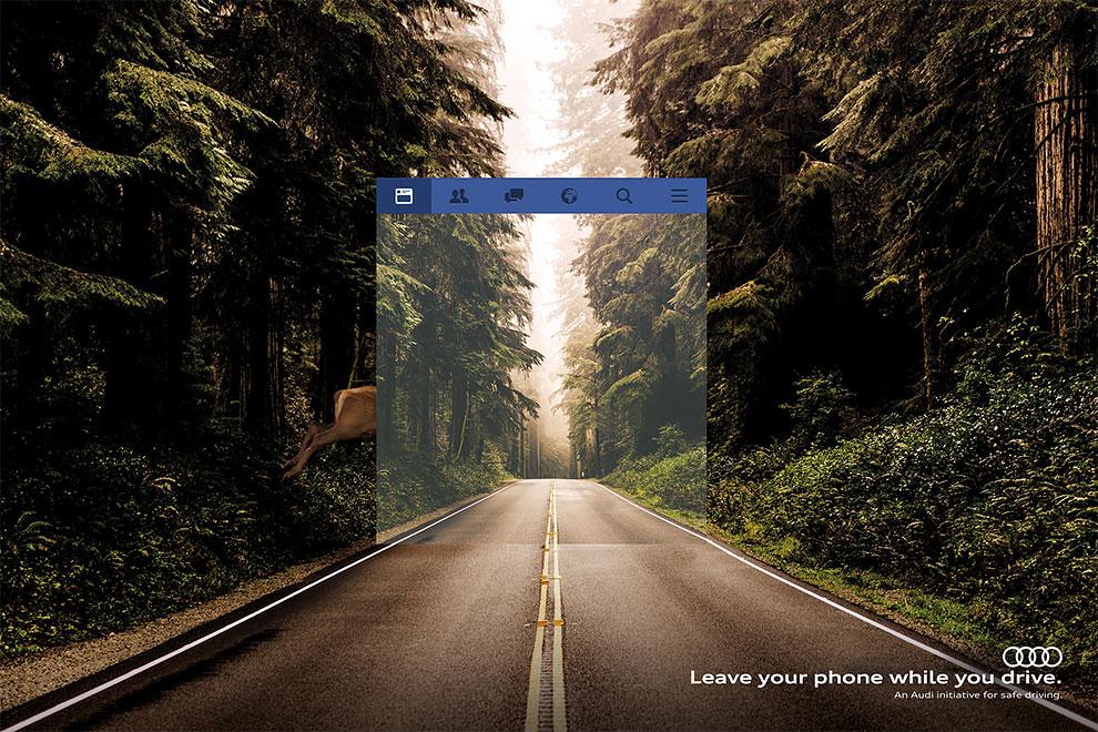 Оставь свой телефон пока ты за рулем. Рекламная кампания Audi демонстрирует как использование телефона искажает восприятие дороги
