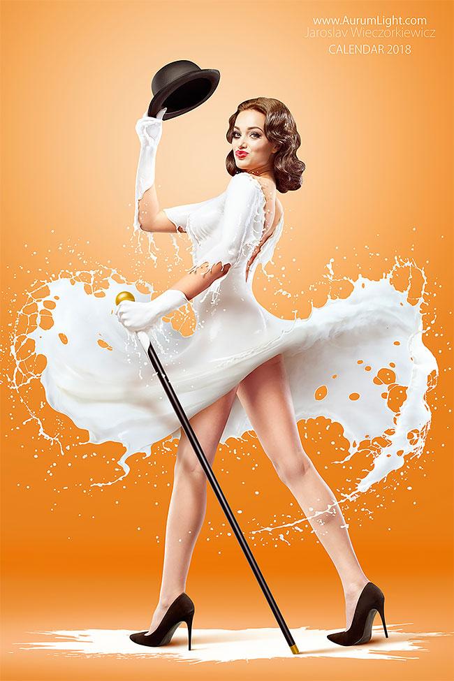 Miss June – Paulina Guzinska. Milky Pin-Ups Calendar 2018 by Jaroslav Wieczorkiewicz