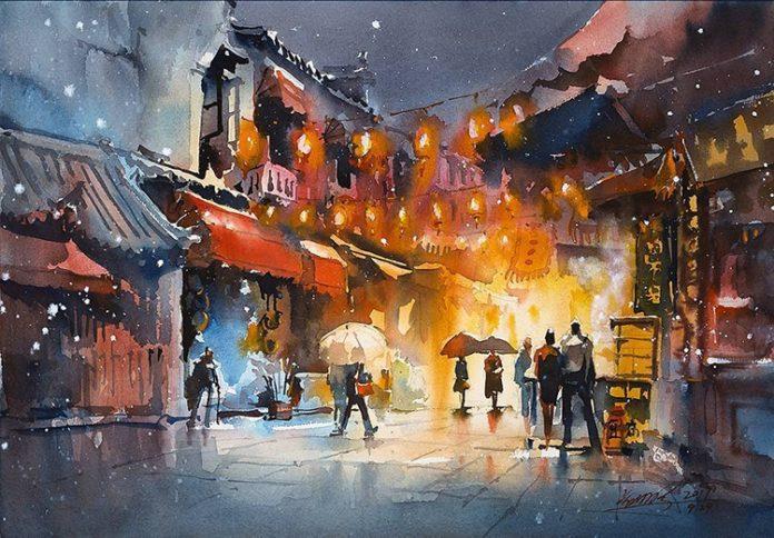Акварельные картины китайского художника Кван Юк Панг