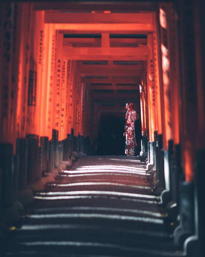 Киото, Япония, Девушка в кимоно