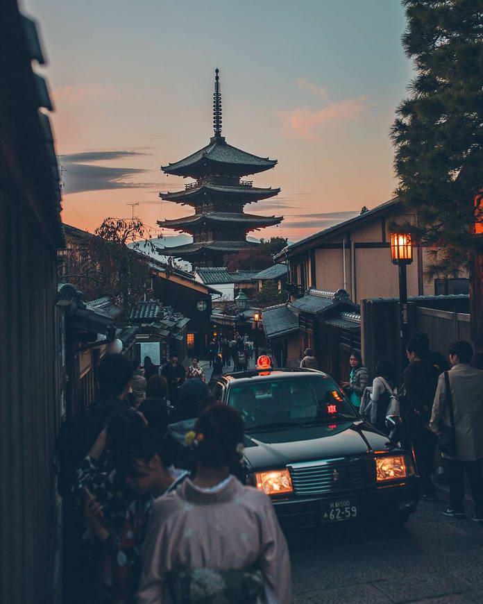 Киото, Япония, городской квартал, жизнь, японская архитектура, пагода