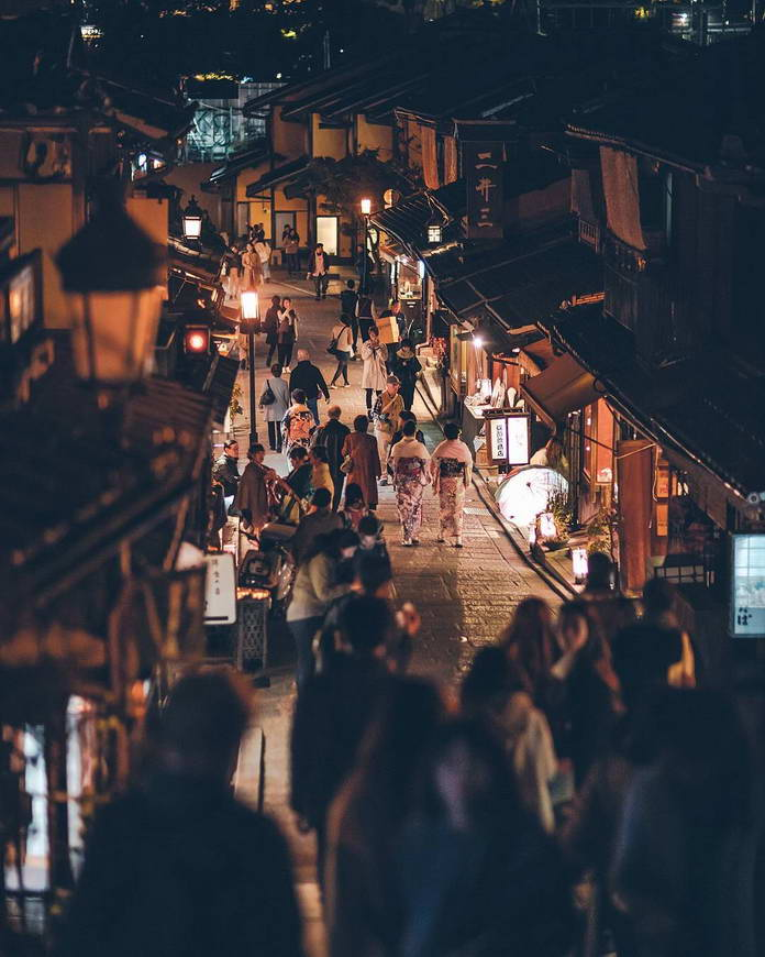 Киото, Япония, старая улица, люди, городской пейзаж, архитектура Японии