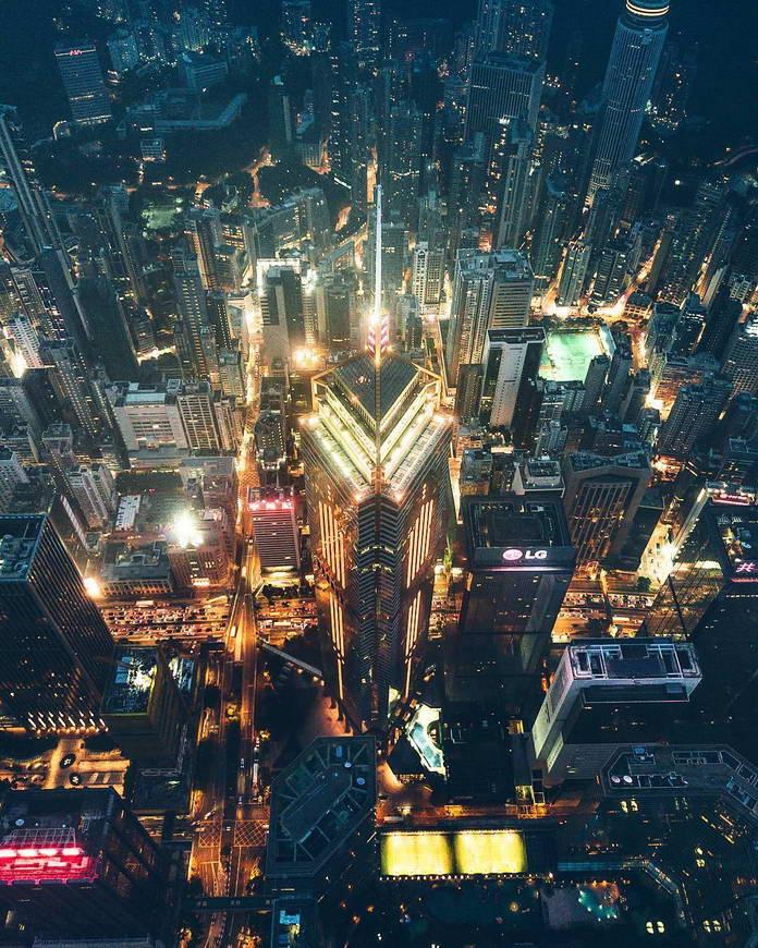 Гонконг, Китай, шпиль небоскреба с высоты