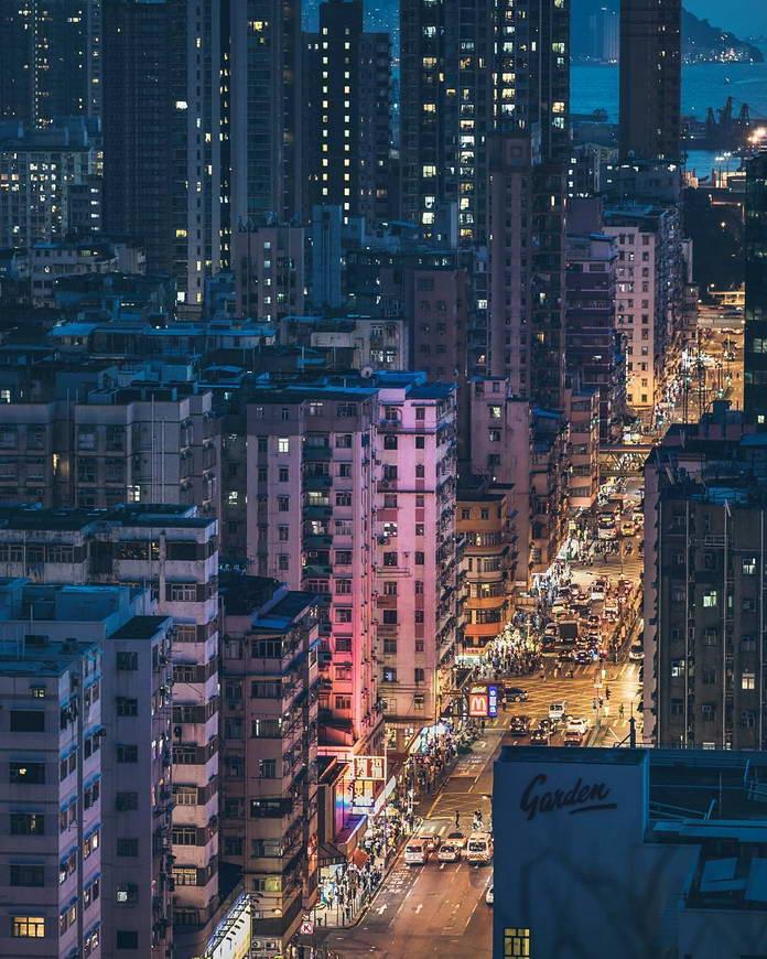 Гонконг, Китай, городской пейзаж, городские огни, урбанизация