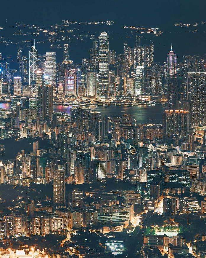 Гонконг, Китай, вид на город с высоты, урбанизация