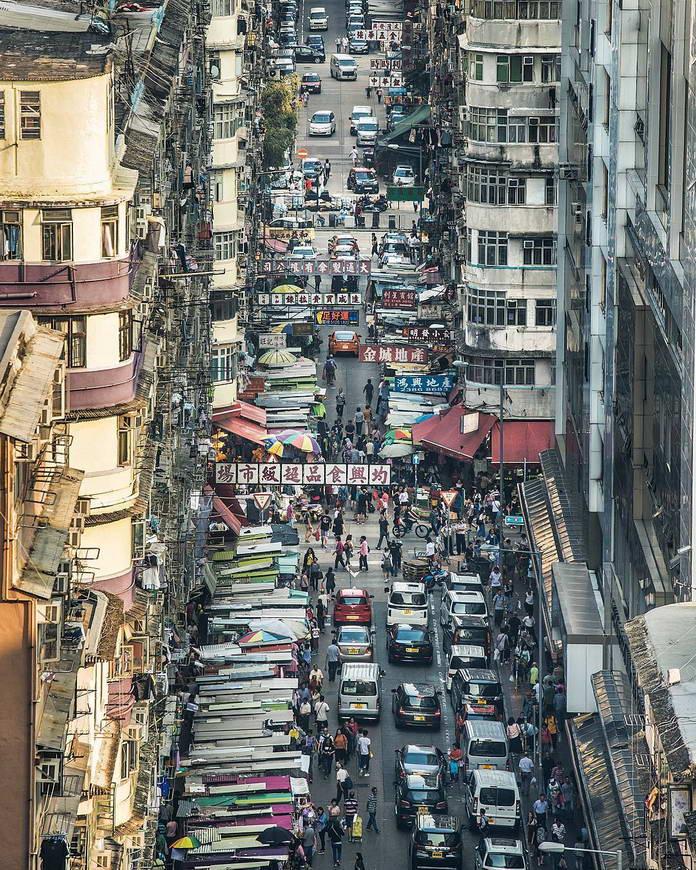 Гонконг, Китай, старый квартал, городской пейзаж, улица