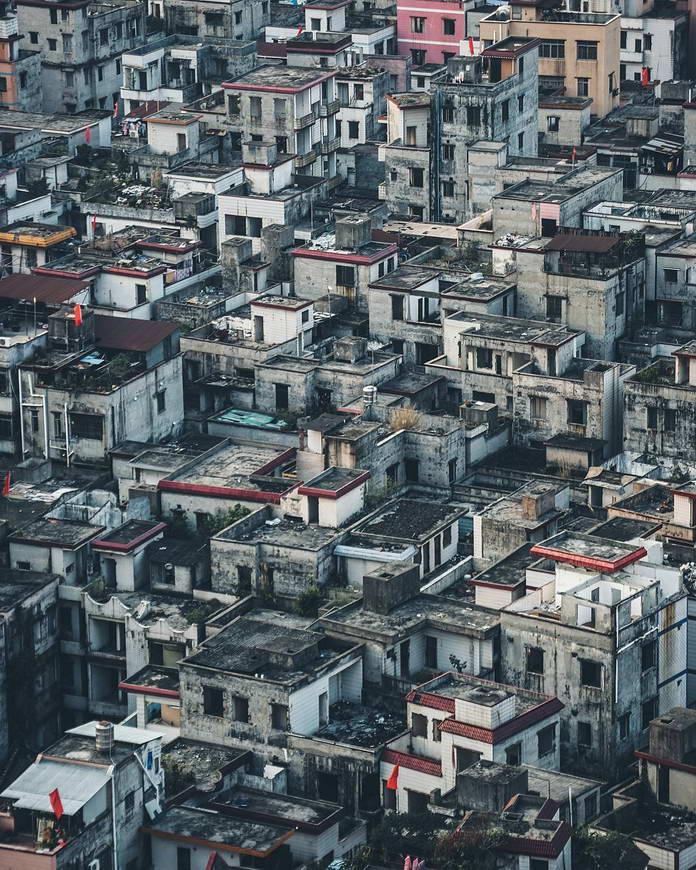 Плотно застроенный жилой квартал, Гуанчжоу, Китай