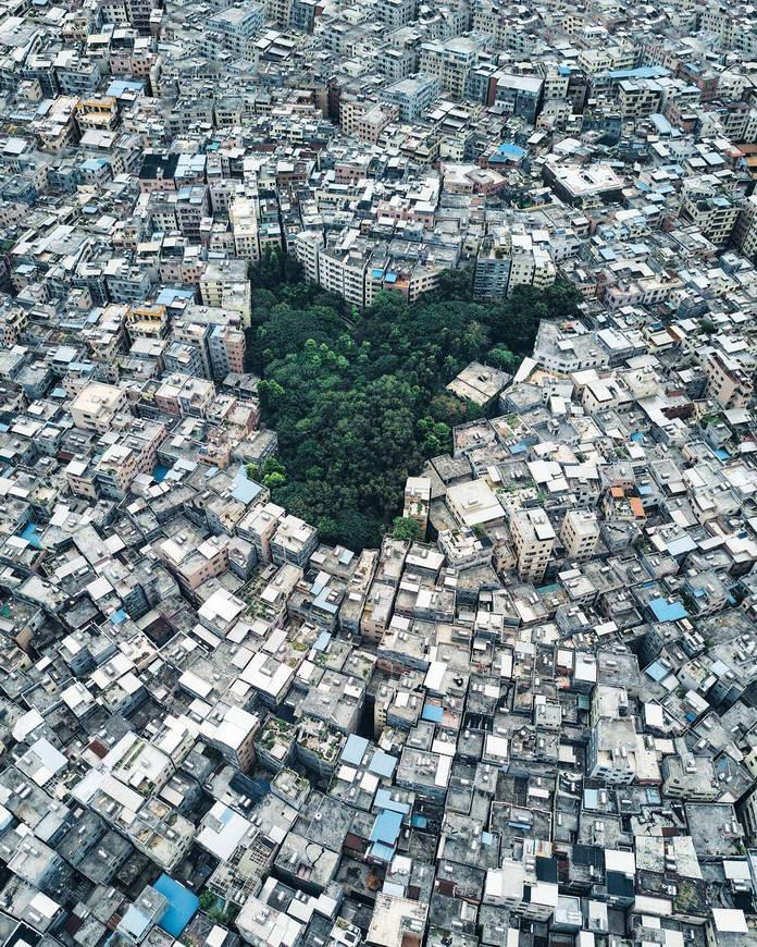 Вид на жилой квартал с высоты, Гуанчжоу, Китай