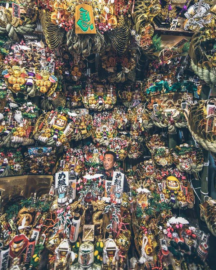 Торговец в лавке, Токио, Япония, городской пейзаж