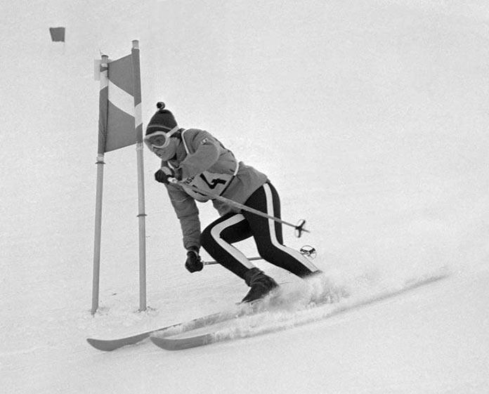 Французская лыжница Мариэль Гойшель на играх 1964 года в Инсбруке, Австрия