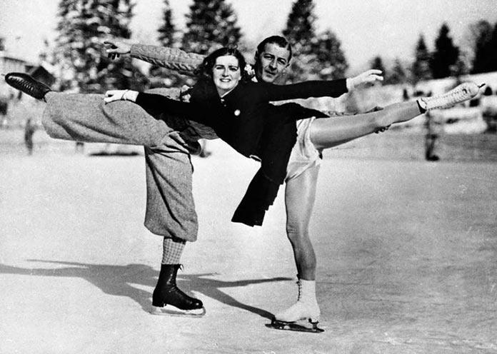 Английские фигуристы Лесли и Вайолет Клифф на зимних Олимпийских играх 1936 года в Германии