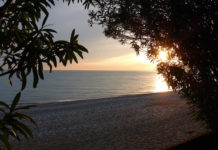 Абхазия, пляж на закате