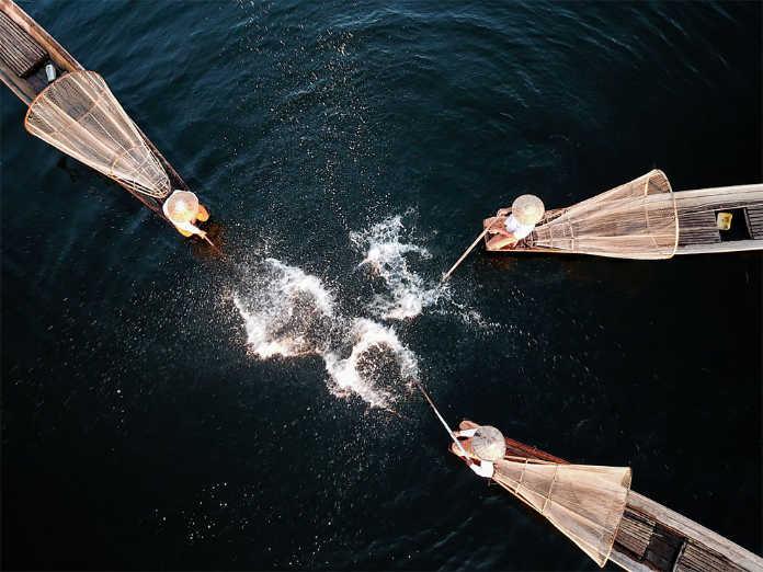 Первое рыболовное шоу на реке Инла. Фотографии-победители конкурса аэро-фото SkyPixel Photo Contest 2017