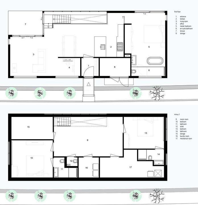 План этажей. Плавучий дом на реке в Голландии