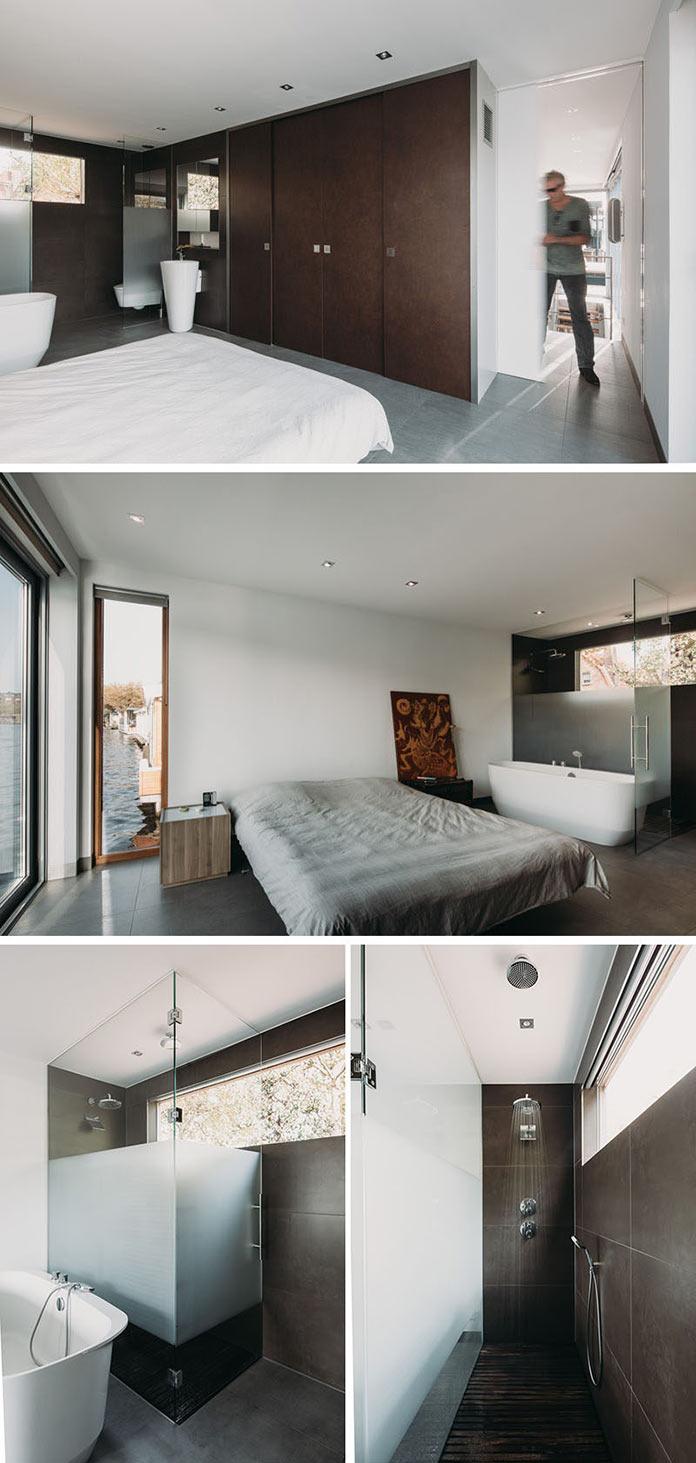 Хаусбот, спальня и ванная комната