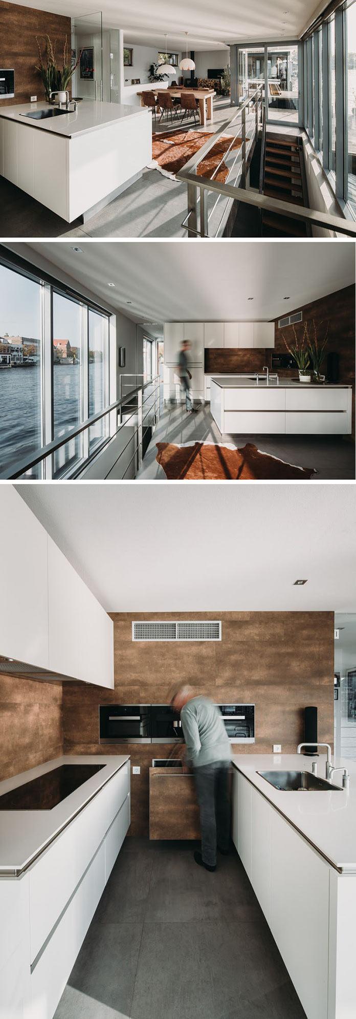 Плавучий дом на реке в Голландии, кухня