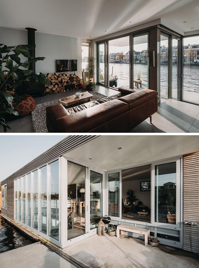 Стильный Хаусбот на реке в Голландии, гостиная