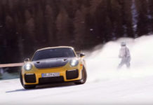 Skijoring on Porsche GT2 RS