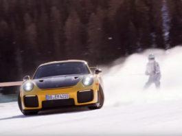 Skijoring on Porsche GT2 RS