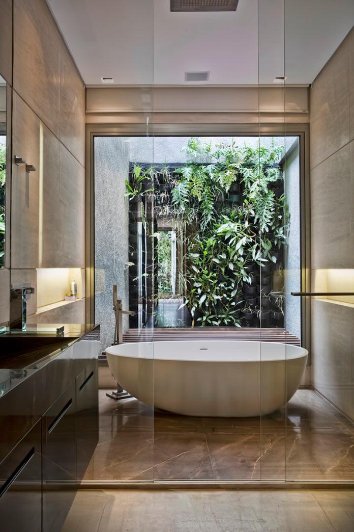 Ванная комната. Двухуровневая квартира в Сан-Паулу, Бразилия